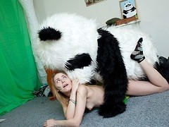 What's the almost any excellent way to talk the panda bear to join the army? Maybe a sexy breasty teenage hottie in a military outfit can do that? That Babe was very stern and tried to train him to march and to work out. But the panda bear's got smth else on his mind! This Chab's gonna train the cutie to have fun with sex! And as pretty soon as the sexy chick saw this shiny large dong of his, this babe forgot all about the army and plunged into fun fucking with the horny bear. Watch, the good old slogan `Make love not war` still works for chicks :)