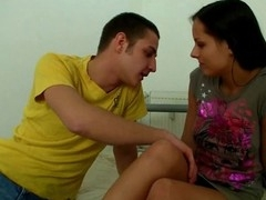 Impressive guy kisses lips of cute legal age teenager angel undressing her.