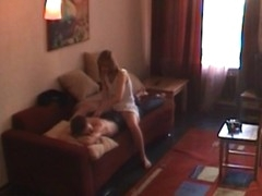 Legal Age Teenager rouge seduces her partner and starts sex action on the couch