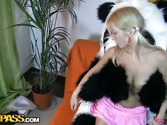 This pretty legal age teenager beauty and her panda bear sure have much fun together! They listen to the music, sing along and dance. But why not doing smth kinkier than just dance? So the blondie strips in nature's garb, playing with a large sex tool. This makes the panda bear horny as hell, and luckily, this chab has smth to satisfy his nasty ally's lust! A large dong is ready to pierce the hotty's oozing hole, to make her forget about anything and plunge into salacious fun fucking. This fantastic teenporn movie scene is sure ...
