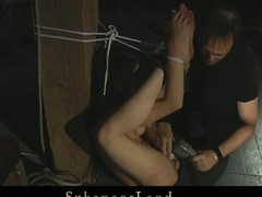 Beautiful darksome brown Kerry has such a flexible body that it would be a pity for dom not uses it right. This Guy submits and bound her body with ropes in lots poses and bonks her in mouth and her bawdy cleft