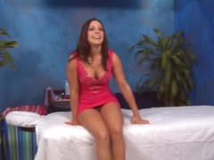 Brunette hair chick has her shaved snatch fucked by a big dick