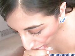 Sinless but nasty Arab legal age teenager sucks hard ramrod whilst rubbing her bawdy cleft then gets her wet box fucked merely to finish by engulfing the cum from the wang and swallowing it.