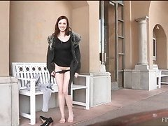Girlie is spreading lengthy legs wide and pushes marital-device in hole
