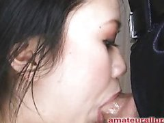 Carmina is a gorgeous twenty year old Oriental student, with a cute little body and an extreme craving for dick. It appears that Carmina has sucked off about fifty guys! That's a large number for anybody still in college. That Honey is likewise blessed with not having a gag reflex so that babe is able to take a penis down her mouth out of an issue. Amazing! After that babe unfathomable face holes my dong numerous times, I bow her over and fuck her taut little shaved fur pie. This Honey wants my load in her mouth, so shen gets on her knees and recieves my full cum discharged into her mouth and swallows it down. This Honey is a fantastic wang sucker and a great fucking lay.
