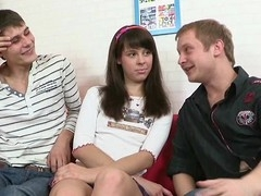 Horny dudes cannot await to get their schlongs into hottie's cunt