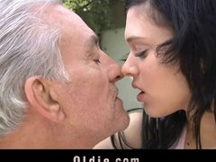 The poor older feels close to the end of his day and this makes him sad. But with cutie brunette hair Miho around this cannot go on. That Hottie has skills to cheer him by giving her shaggy cunt to be licked and fucked hard