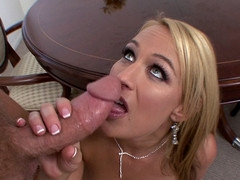 Golden-Haired woman with green eyes enjoys engulfing his huge dong.