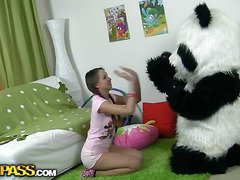In this unusual sex clip u'll watch a beautiful teenage hotty playing with toy. But it's not just a toy, it's a large panda bear, and this guy's so fun to play with! This Chab can do anything the angel wants, but this babe should strip stripped in return. But imagine the angel's surprise when that babe saw panda's huge strap on! This Playgirl had not at any time thought of him as sex partner previous to, but since this chab's so well-equipped and horny, why not go for a nasty sex play with him? So the panda bear banged the breasty teenage in all possible poses ...