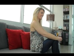 Gorgeous blond opens up first time on camera